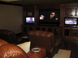 absher theater with 60 inch plasma drop down screen